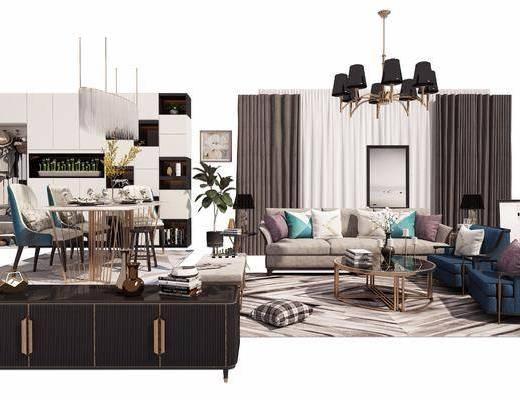 多人沙发, 单人沙发, 边柜, 茶几, 餐桌, 餐椅, 装饰柜, 吊灯, 台灯, 现代
