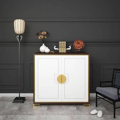 边柜, 玄关柜, 落地灯, 陈设品, 摆件, 单椅, 椅子