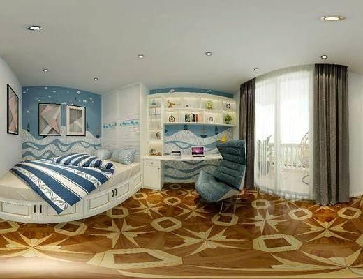榻榻米, 衣柜, 书柜, 单人床, 书桌