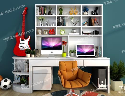 书桌, 电脑, 单人椅, 吉他, 摆件, 装饰品, 陈设品, 盆栽, 绿植植物, 书籍, 现代