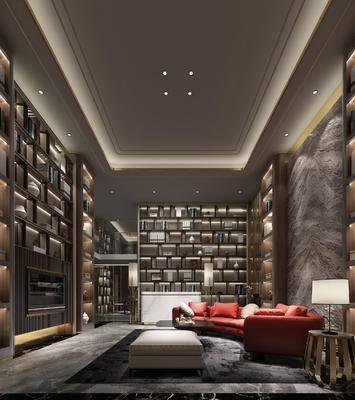 客厅, 酒吧, 装饰柜, 沙发, 茶几, 台灯, 吧台