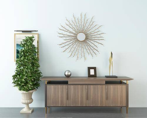 边柜, 盆栽, 镜子, 陈设品, 摆件, 现代