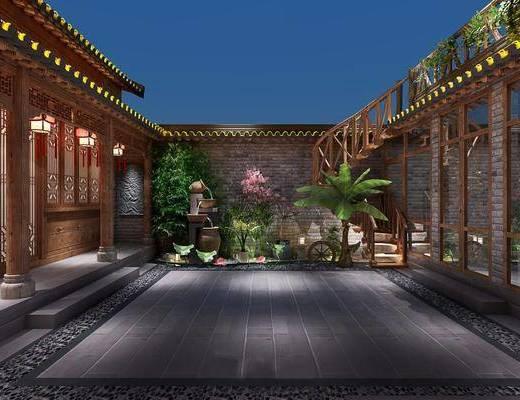 庭院, 建筑, 盆栽, 绿植, 植物, 树木, 楼梯, 荷花, 中式