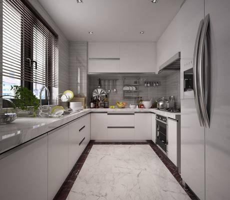 现代, 厨房, 冰箱, 洗手台, 厨房用品
