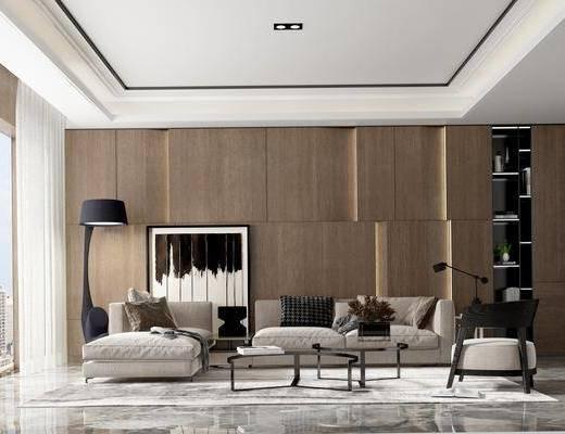 沙发组合, 多人沙发, 转角沙发, 单人沙发, 落地灯, 装饰画, 挂画, 茶几, 边几, 台灯, 现代