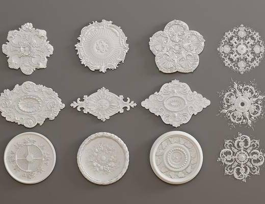 石膏灯盘, 构件雕花, 墙饰组合, 欧式