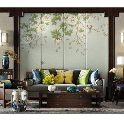 沙发背景墙, 多人沙发, 单人沙发, 茶几, 摆件, 壁灯, 台灯, 中式