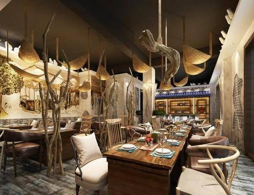 餐厅, 餐桌, 餐具组合, 吊灯, 装饰画