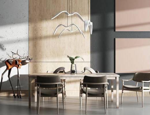 桌椅组合, 餐桌, 椅子, 吊灯, 花瓶, 现代