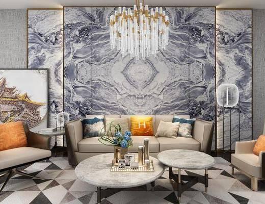 沙发组合, 茶几, 后现代沙发组合, 沙发, 单椅, 单人沙发, 圆几, 摆件, 装饰品, 吊灯, 落地灯, 后现代