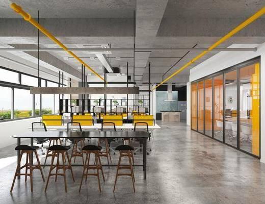 办公区, 桌椅组合, 吊灯
