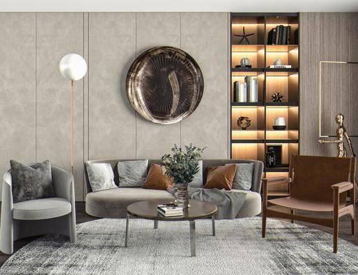 双人沙发, 落地灯, 休闲椅, 摆件, 挂画