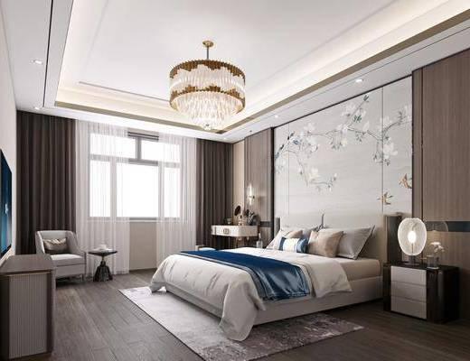 梳妆台, 背景墙, 吊灯, 双人床, 电视柜, 地毯