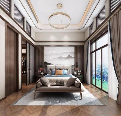卧室, 双人床, 床头柜, 吊灯, 床尾凳, 衣柜, 服饰, 新中式
