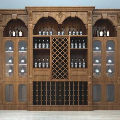 美式, 古典, 酒柜, 红酒, 酒瓶, 简美