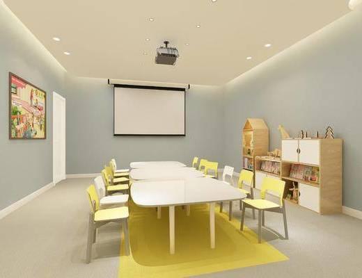 中英教室, 投影仪, 儿童图书, 桌子, 单人椅, 装饰柜, 边柜, 书柜, 装饰品, 陈设品, 现代