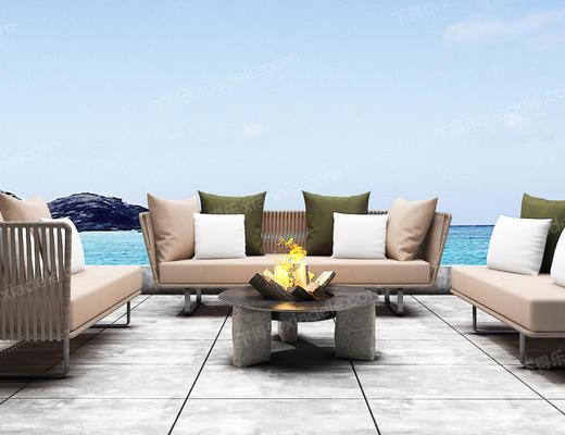 沙发组合, 沙发茶几组合, 现代沙发, 多人沙发, 茶几, 北欧沙发