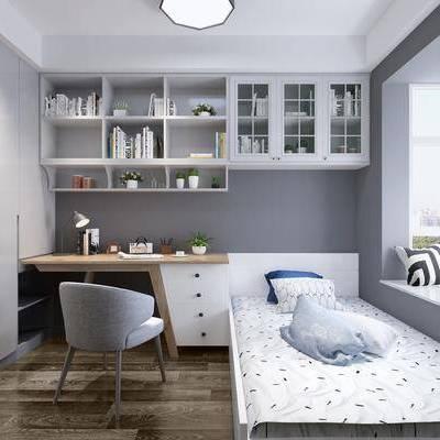 儿童房, 床具, 单人床, 书桌, 单椅, 椅子, 书柜, 书架, 书籍, 书本, 摆件, 装饰品, 衣柜, 抱枕, 现代