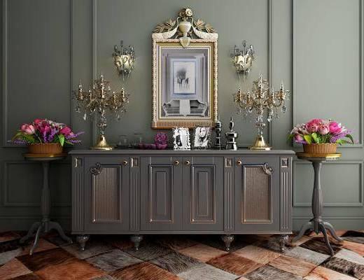 边柜, 装饰柜, 摆件, 装饰品, 陈设品, 壁灯, 台灯, 美式