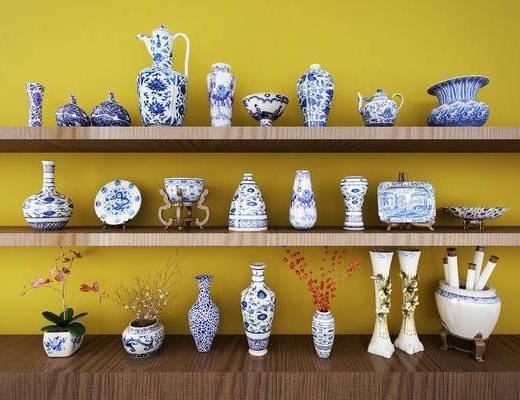 中式青花瓷, 陶瓷, 中式摆设, 装饰品, 瓶罐