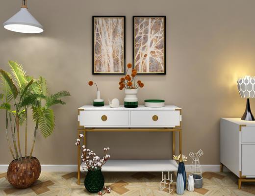 端景台, 边柜, 玄关柜, 花瓶, 陈设品, 摆件