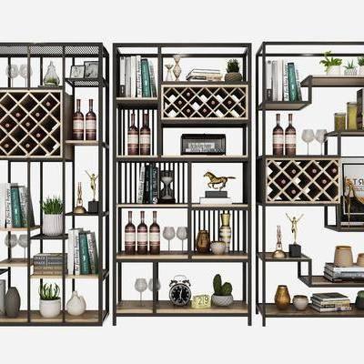 酒架, 酒柜, 裝飾架, 書架, 書籍, 酒, 盆栽, 綠植, 擺件, 裝飾品, 陳設品, 現代