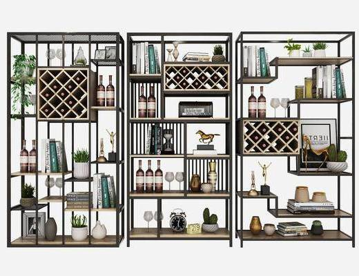 酒架, 酒柜, 装饰架, 书架, 书籍, 酒, 盆栽, 绿植, 摆件, 装饰品, 陈设品, 现代