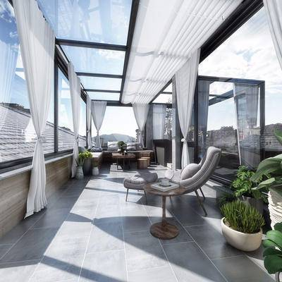 阳光房, 遮阳帘, 单椅, 植物, 茶桌