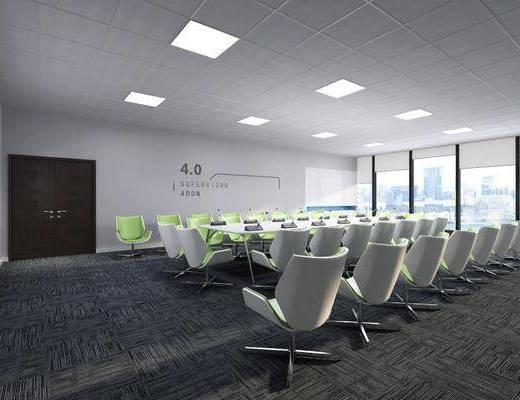 会议室, 会议桌, 单人椅, 办公椅, 办公桌, 现代