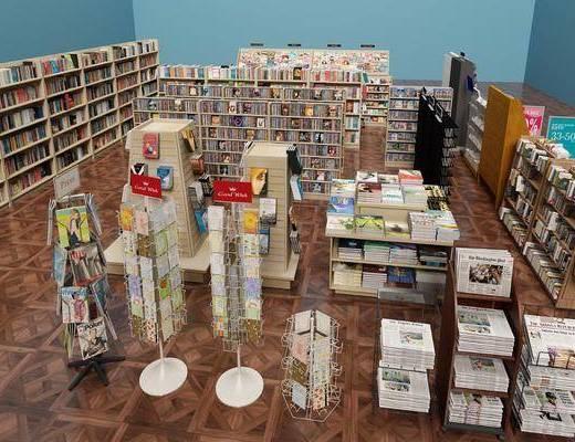 现代书吧, 书吧, 现代, 书柜, 书本, 书架