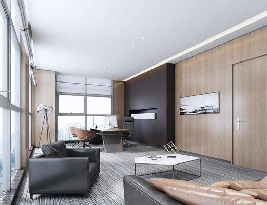 现代, 办公室, 沙发, 茶几, 办公桌, 办公椅