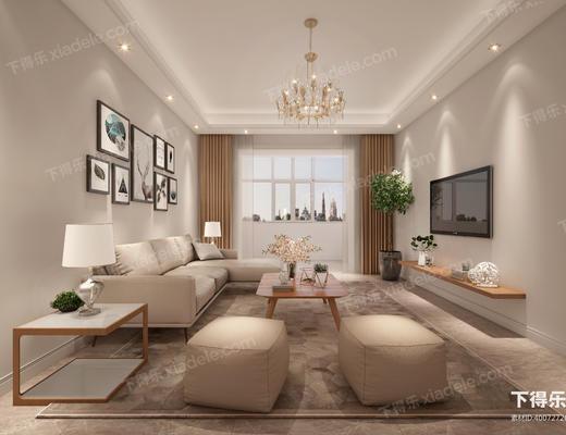 客厅, 厨房, 卫生间, 沙发组合, 沙发茶几组合, 吊灯