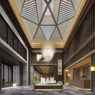 售楼处, 吊灯, 多人沙发, 单人椅, 装饰柜, 摆件, 装饰品, 陈设品, 吊灯组合, 落地灯, 盆栽, 现代