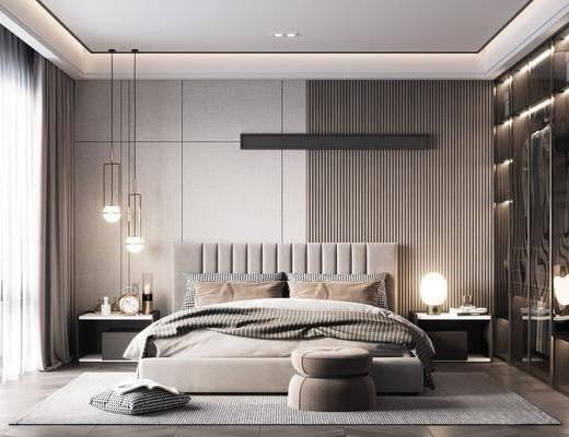 双人床, 床具组合, 吊灯, 床头柜, 衣柜