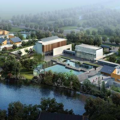 中式园林建筑, 古建, 鸟瞰, 景观