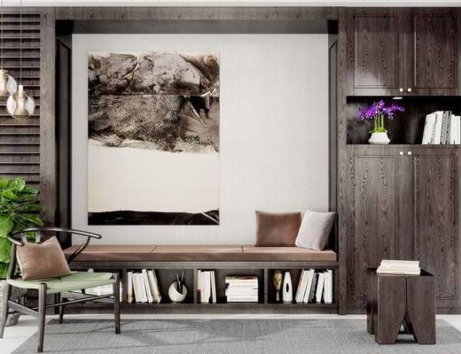 新中式边柜, 装饰柜, 现代吊灯, 现代盆栽