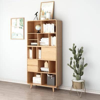 边柜组合, 书柜书籍, 盆栽, 绿植植物, 挂画, 北欧