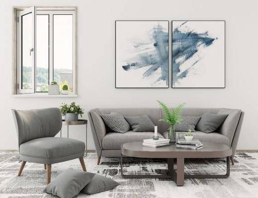 沙发组合, 沙发茶几组合, 挂画组合, 摆件组合, 北欧