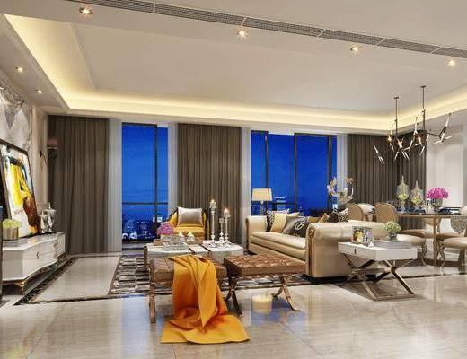 现代客厅, 现代餐厅, 现代, 现代吊灯, 布艺沙发, 电视柜