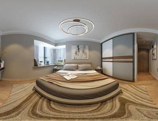 现代卧室, 卧室, 双人床, 全景