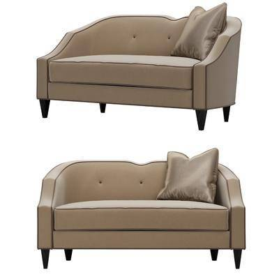 双人沙发, 沙发, 抱枕, 布艺, 现代