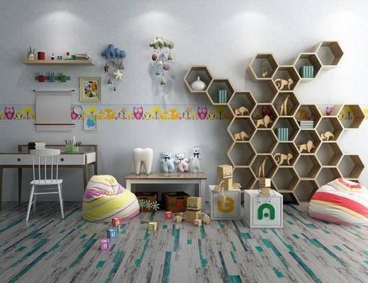 儿童房, 书桌, 单人椅, 装饰柜, 玩具, 摆件, 装饰品, 陈设品, 柜子, 现代