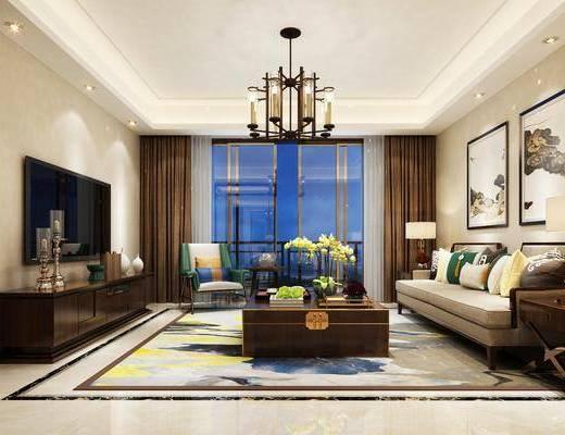 新中式客厅, 新中式, 中式吊灯, 电视柜茶几, 中式沙发组合, 中式装饰画