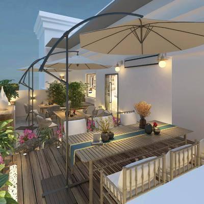 阳台, 露台, 桌椅组合