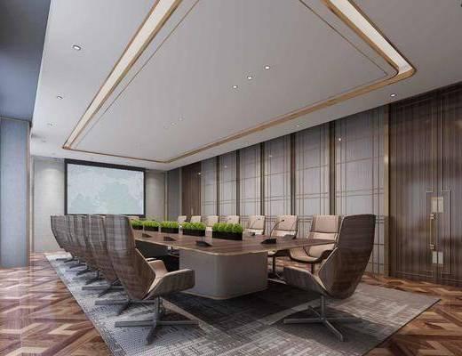 桌椅组合, 盆栽植物, 会议室