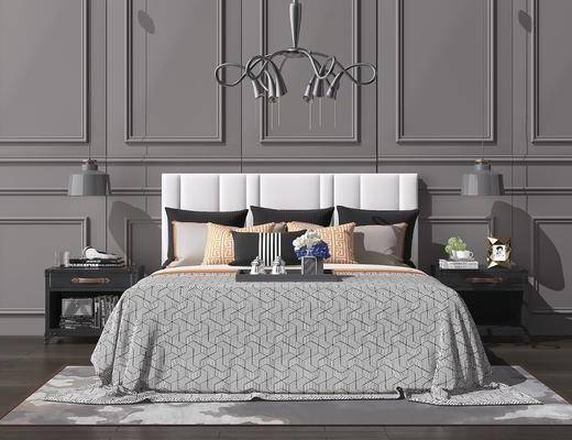 床具组合, 双人床, 床头柜, 吊灯, 摆件, 装饰品, 陈设品, 北欧
