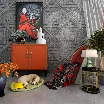 边柜, 装饰柜, 宠物狗, 盆栽, 绿植植物, 边几, 台灯, 花瓶花卉, 单人沙发, 动物画, 装饰画, 挂画, 摆件, 装饰品, 陈设品, 新中式