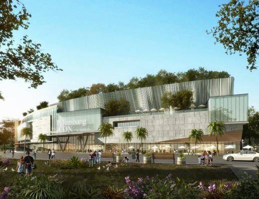 商业楼, 公共建筑, 长椅, 人物, 男人, 树木, 植物, 花卉, 绿植, 现代