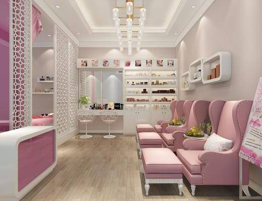 美甲店, 美容院, 化妆店, 化妆品, 装饰柜, 单人沙发, 凳子, 吊灯, 摆件, 装饰品, 陈设品, 现代