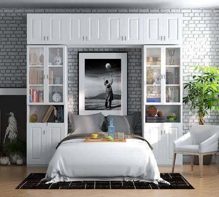 床具组合, 现代床具组合, 置物柜, 书柜, 书籍, 摆件, 装饰品, 装饰画, 植物, 盆栽, 单椅, 椅子, 现代